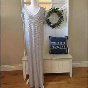 H&M Cream & Black Striped Maxi Dress